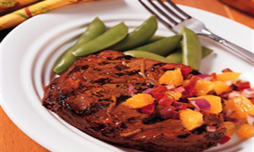 Cumin Crushed Beef Steaks With Orange-Olive Relish