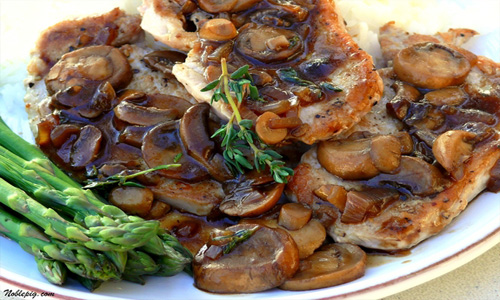 Beer-Braised Sirloin Chops With Mushrooms
