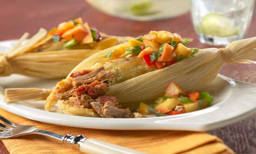 Tamale With Spanish Braised Pork Shanks And White Peach Salsa