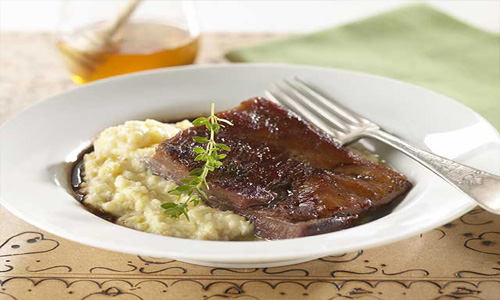 Braised Pork Belly With Creamy Grits